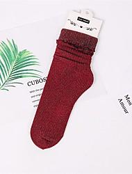 cheap -Girls' Socks & Stockings, Summer Cotton Polyester Gray Yellow Fuchsia Wine Light Blue