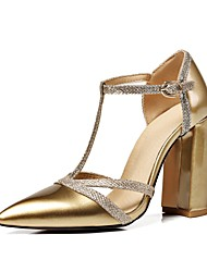 cheap -Women's Shoes Patent Leather / Customized Materials Summer / Fall Comfort / Ankle Strap Sandals Chunky Heel Pointed Toe Buckle Silver /
