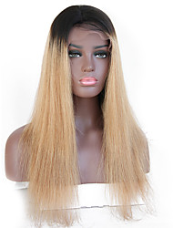 cheap -Remy Human Hair Lace Front Wig Brazilian Hair Straight Wig 130% With Baby Hair / Ombre Hair / Dark Roots Light Brown / Brown Women's Short Human Hair Lace Wig / Natural Hairline