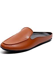 お買い得  -男性用 靴 レザーレット 春 夏 ダイビングシューズ コンフォートシューズ ローファー&スリップアドオン のために カジュアル アウトドア ブラック Brown