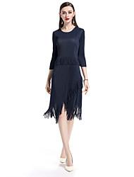 Недорогие -Жен. Простой Классический Оболочка Платье - Однотонный, Плиссировка С кисточками Средней длины
