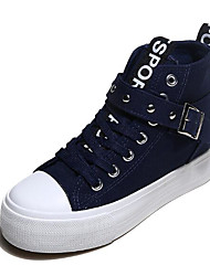 cheap -Women's Shoes Canvas Spring / Fall Comfort Sneakers Low Heel Black / Red / Blue
