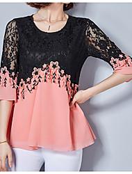 preiswerte -Damen Solide Einfarbig - Grundlegend Bluse Spitze
