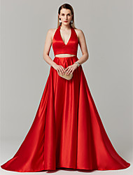 cheap -A-Line Princess Two Piece Halter Sweep / Brush Train Satin Prom / Formal Evening Dress with Bow(s) by TS Couture®