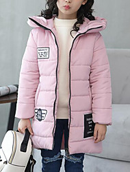 cheap -Girls' Patchwork Down & Cotton Padded, Polyester Winter Fall Long Sleeves Black Red Blushing Pink Light Blue