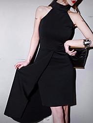 abordables -Mujer Básico Delgado Pequeño Negro Vestido Un Color Midi Halter Hombros Caídos