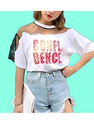voordelige -Dames Schattig Netstof Patchwork T-shirt Katoen Effen Letter