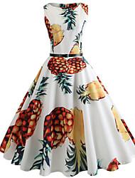 abordables -Mujer Noche Vintage Algodón Delgado Corte Swing Vestido - Estampado, Fruta Hasta la Rodilla Piña / Primavera / Verano