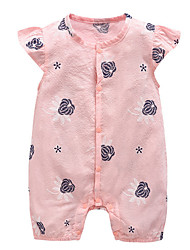cheap -Baby Girls' Daily Holiday Floral One-Pieces, Cotton Polyester Summer Basic Short Sleeve Blushing Pink Light Blue 90 80 59 66 73