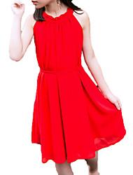 abordables -Robe Fille de Quotidien Vacances Couleur Pleine Coton Polyester Eté Sans Manches Mignon Actif Rouge