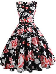 abordables -Mujer Vintage Vaina Vestido Floral Hasta la Rodilla