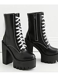 Недорогие -Жен. Обувь Полиуретан Весна Осень Армейские ботинки Удобная обувь Ботинки На толстом каблуке Сапоги до середины икры для Повседневные