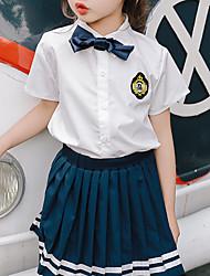 abordables -Ensemble de Vêtements Fille Quotidien Couleur Pleine Coton Fibre de bambou Printemps Manches longues Décontracté Blanc