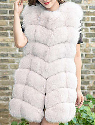 cheap -Women's Sophisticated Fox Fur Fur Coat-Solid Colored V Neck