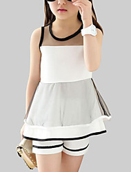 cheap -Girls' Striped Clothing Set, Polyester Summer Sleeveless Lace White