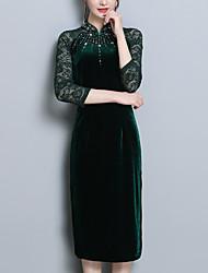 baratos -Mulheres Tamanhos Grandes Feriado Temática Asiática Delgado Tubinho Vestido Sólido Colarinho Chinês Médio