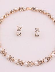 abordables -Mujer Conjunto de joyas - Perla Artificial, Chapado en Oro Flor Simple, Moda Incluir Los sistemas nupciales de la joyería Dorado Para Boda / Oficina y carrera
