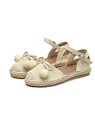 cheap -Women's Shoes Fabric Spring / Fall Comfort Sandals Flat Heel Closed Toe Black / Almond / Lace up