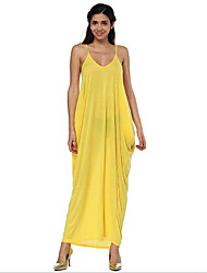 cheap -Women's Sophisticated Street chic Loose Dress - Solid Colored, Backless