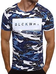 abordables -Tee-shirt Homme, Couleur Pleine / camouflage / Lettre Imprimé Militaire