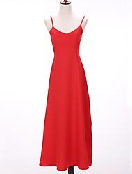 baratos -Mulheres Moda de Rua Túnicas Vestido - Frente Única, Sólido Médio