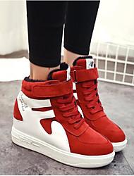 povoljno -Žene Cipele PU Jesen Zima Udobne cipele Sneakers Wedge Heel Okrugli Toe za Kauzalni Crn Sive boje Crvena
