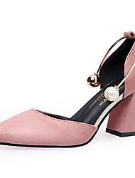 baratos -Mulheres Sapatos Borracha Verão Conforto Sandálias Salto Robusto Preto / Rosa claro / Vinho / Sandálias de calcanhar