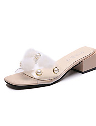 cheap -Women's Shoes PU Summer Gladiator Slippers & Flip-Flops Chunky Heel for White Beige
