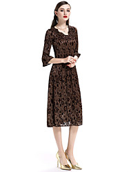 Недорогие -Жен. Изысканный Уличный стиль Вспышка рукава С летящей юбкой Платье - Цветочный принт, Плиссировка Средней длины