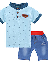 cheap -Boys' Daily Sports Print Clothing Set, Cotton Polyester Summer Short Sleeves Active Street chic White Light Green Light Blue
