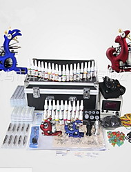 cheap -Tattoo Machine Professional Tattoo Kit - 2 pcs Tattoo Machines LCD power supply Case Included 2 cast iron machine liner & shader