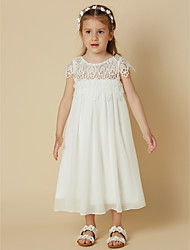 cheap -Sheath / Column Knee Length Flower Girl Dress - Chiffon Lace Short Sleeves Scoop Neck with Lace by LAN TING BRIDE®
