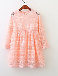 baratos -Menina de Vestido Para Noite Sólido Primavera Algodão Manga Longa Fofo Branco Vermelho Rosa