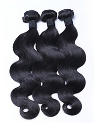 cheap -Brazilian Hair Wavy Weave 3 Bundles 18inch Human Hair Weaves Machine Made Simple / Odor Free / Normal Natural Black Women's