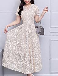 baratos -Mulheres Básico balanço Vestido - Renda, Geométrica Médio