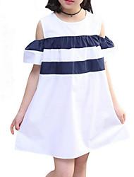 abordables -Robe Fille de Quotidien Vacances Couleur Pleine Rayé Coton Polyester Eté Manches Courtes Mignon Actif Blanc Marine