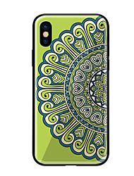 baratos -Capinha Para Apple iPhone X iPhone 8 Estampada Capa traseira Mandala Rígida Vidro Temperado para iPhone X iPhone 8 Plus iPhone 8 iPhone 7