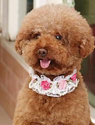 baratos -Cachorros Gatos Colarinho Tamanho Ajustável Dobrável Respirável Decoração Malha Flor PU Leather Branco Rosa claro