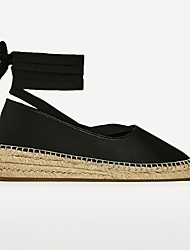 cheap -Women's Lace up Leather Spring / Fall Comfort Sandals Wedge Heel Round Toe White / Black
