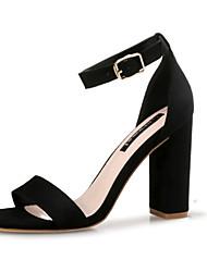 Недорогие -Жен. Обувь Ткань Лето Оригинальная обувь Сандалии На толстом каблуке Открытый мыс Пряжки для Повседневные Для вечеринки / ужина Черный