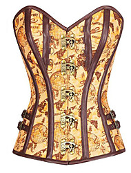 abordables -Steampunk Costume Femme Corset Jaune Vintage Cosplay Polyester Sans Manches