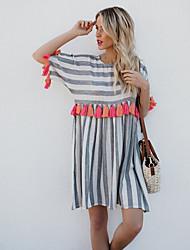 economico -Per donna Per eventi Moda città Cotone T Shirt Vestito - Nappa, A strisce Sopra il ginocchio / Estate