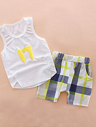 cheap -Boys' Daily Holiday Print Clothing Set, Cotton Acrylic Spring Summer Sleeveless Cute Active Blue White Yellow