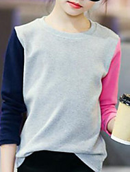 お買い得  -子供 女の子 シンプル カラーブロック コットン Tシャツ グレー