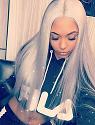 cheap -Remy Human Hair Lace Front Wig Brazilian Hair Straight Wig Short Bob 130% With Baby Hair / Natural Hairline / Unprocessed Dark Gray Women's Short / Long / Mid Length Human Hair Lace Wig
