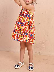 abordables -Robe Fille de Quotidien Fleur Coton Eté Sans Manches Actif Bleu Orange