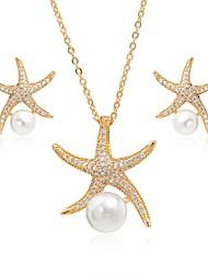 abordables -Femme Zircon / Perle Perle / Zircon / Plaqué argent Ensemble de bijoux 1 Collier / Boucles d'oreille - Grande occasion / Elégant / Mode