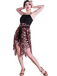 baratos -Dança Latina Vestidos Mulheres Treino Fio Elástico Fibra de Leite Faixa / Fita Sem Manga Natural Vestido