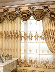 cheap -Sheer Curtains Shades Living Room Geometric Cotton / Polyester Embroidery