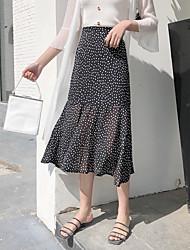 cheap -Women's Street chic Trumpet / Mermaid Skirts - Polka Dot